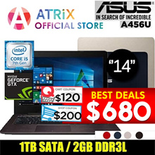 [Brand New]Asus A456U | 14˝FHD | i5-7200 | 4GB Ram | Geforce 2GB | 1TB HDD | Win10 | 2 Year Warranty