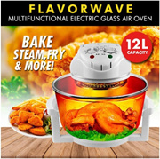 FLAVORWAVE Multifunctional Electric Glass Waves Air Oven/Air Fryer 12L**French Technology