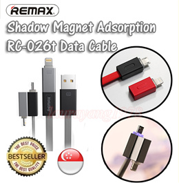 ★SG Seller★ Remax 2in1 Shadow Magnet Adsorption Data Cable for Micro and Apple Port Lightning USB Data Sync Charger Cable for Samsung Note Edge iPhone 6S 6 Plus HTC iPad Air Mini Galaxy Tab ★