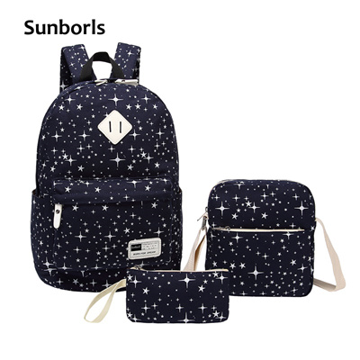 dd42fad7ae outlet Sunborls Women Canvas Backpack Print Girl School Bags For Teenagers Backpack  Feminine 3 PCS