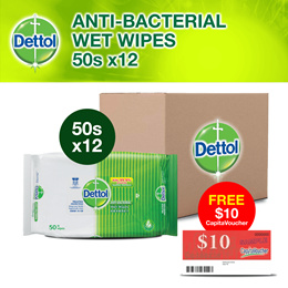 [Bundle of 12] Dettol Anti-Bacterial Wet Wipes - 50s