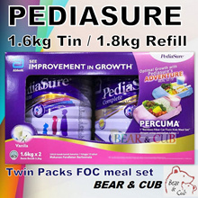 PEDIASURE TWIN PACK FOC MEAL SET 1.6kg x2 /1.8kg(Refill) - Vanilla ★MADE IN SINGAPORE FOR MALAYSIA★