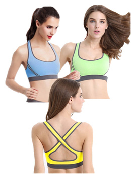 Set of 3 Cross Back Sports Bras ( Blue Yellow Green)
