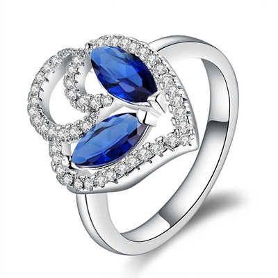 Gorgeous Crystal Luxury Sapphire Rhinestone Heart Shape Silver Plated Ring for Women Inlaid Zircon Size 8