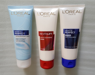 LOreal Paris White Perfect Anti-Dullness Scrub/Extraordinary Whip/Revitalift Milky Cleansing Foam
