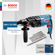 [Official E-Store] Bosch GBH 2-24 DRE Rotary Hammer SDS-Plus. Come with 5 Drill Bits and 1 Chisel!