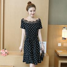 female dress one-piece polka dots frill hem bow tie lace braid collar