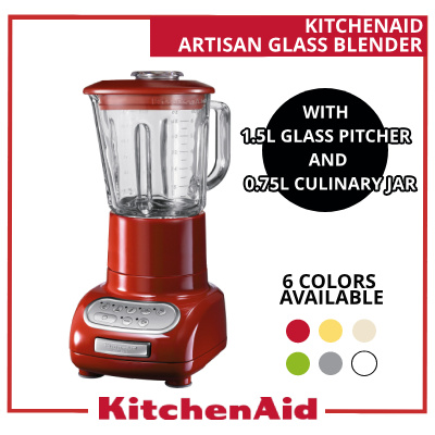 qoo10 artisan glass blender with 1 5l glass pitcher and 0 75l