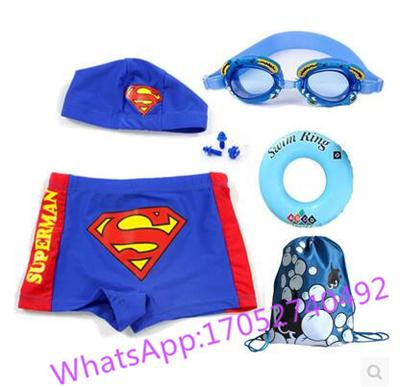 ce24eadd178c9 Superman boxer trunks Childrens swimsuit boy child sized swimming goggles  swimming cap suit equipmen