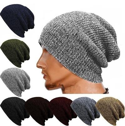 Qoo10 Winter Casual Cotton Knit Hat Men Baggy Beanie Crochet Hat