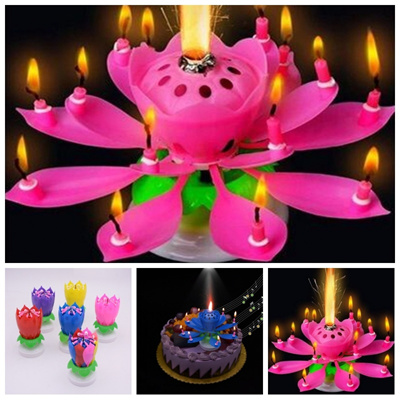 Rotating Happy Birthday Party Candle Singing Double Layer Musical Lotus Flower Cake Light Lam