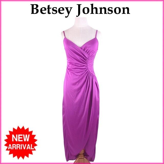ベッツィージョンソン Betsey Johnson ワンピース /ドレス/シャーリング入り /ロング/レディース /ラインストーン付き パープル PE/100% (あす楽対応)(良品・即納)【中古】