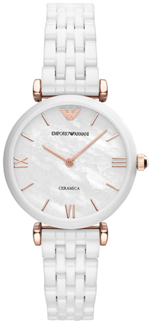 Emporio Armani AR1486 Womens Classic Ceramica Watch (White/Rose Gold)