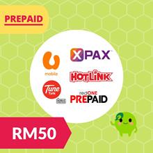 Prepaid Reload Top Up Hotlink UMobile Celcom Xpax Tunetalk Redone RM30 RM50