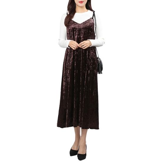 ラブLAPベルベットクンなし、マクシーOPAH4WOA64 面ワンピース/ 韓国ファッション