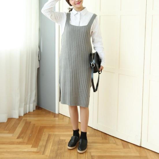 チョアジたらニットサスペンダーロングワンピース 塔/袖なしのワンピース/ 韓国ファッション