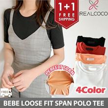 [Realcoco]❤️1+1❤️ 4Color BEBE Short Sleeve Loose Fit Polo Shirt Tee ❤️✈️Free Shipping /Korean Trendy Fashion No.1