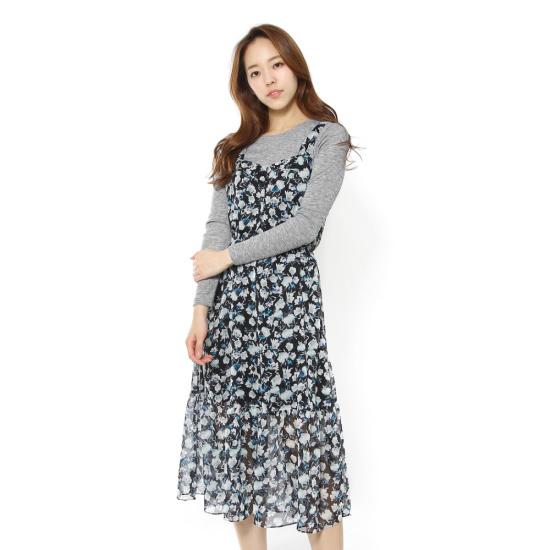 ルシャプLeShop大きな花プリントレイヤードワンピースLH4OP600 シフォン/レース/フリル/ 韓国ファッション