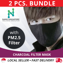 [2pcs Bundle] #1 Charcoal Face Mouth Filter Mask  *Haze Mask PM2.5 Filter  *Washable and Reusable