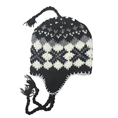 cefdb19af (Sherpa Designs)/Accessories/Hats/DIRECT FROM USA/Hand Knit Unisex WOOL  Beanie Hat Ear Flap Fleece Lined Nepal