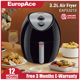 *Online Exclusive* EuropAce Large Capacity 3.2L Air Fryer (Black) EAF 5321S - 12 months warranty