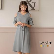 TOKICHOI - V-Neck Cold Shoulder Drawstring Waist Dress - 182665