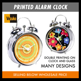 SPECIAL DESIGNER PRINTED ALARM CLOCK SELLING BELOW WHOLESALE PRICE