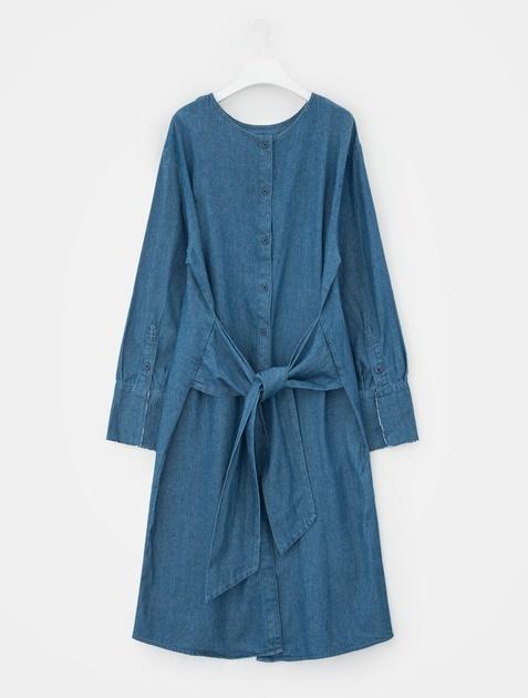 8SECONDS Round Neck Denim Long Dress - Blue