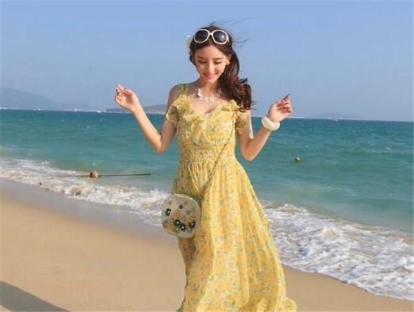 レディースワンピース ビーチワンピース さわやか プリント ファッション ハイセンス 着心地いい おしゃれ 夏 レディースワンピース