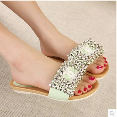 0f81e0aa3 Summer new flat sandals and slippers diamond slope with thick crust muffin sandals  word drag plywood