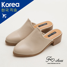 【New Arrival】 Korea - Curve Cut High Heel Mules - Apricot 【00006715-B03】