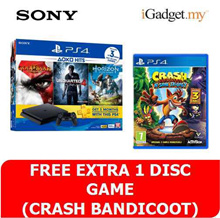 (PS4 Slim Bundle RM1279 with RM120 coupon) SONY PlayStation 4 PS4 Slim 500 GB HITS 2 Bundle Pack (Sony Malaysia Warranty) ** FREE CRASH BANDICOOT
