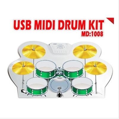 Mini Portable USB MIDI DRUM KIT Electronic Drum Hand Drum drum set opc drum  brake drum cable- laptop keyboard