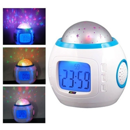Children Room Sky Star Night Light Projector Lamp with Sleeping Music、 Calendar、 Clock、 Thermometer