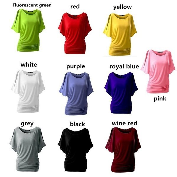 3e95f8f79854ee fit to viewer. prev next. Summer Women 10 Colors Bat Sleeve T-shirt Loose  Solid Color Round ...