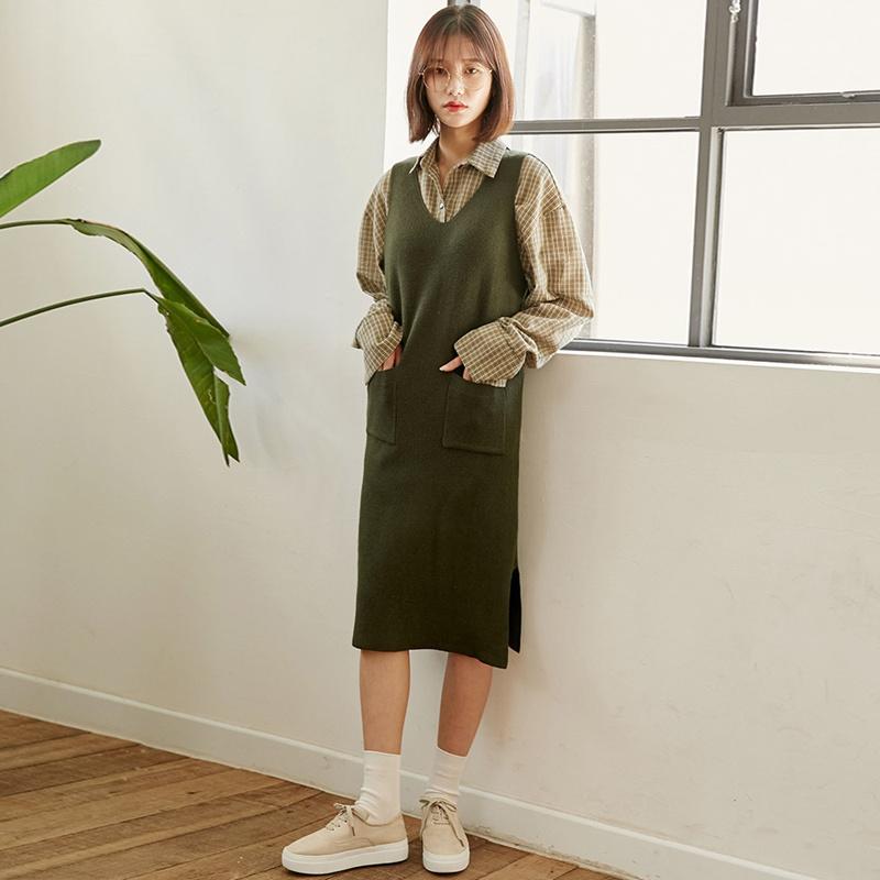 【送料無料】★韓國ファッション★v-neck long knit dress♥Vネックロングニットドレス
