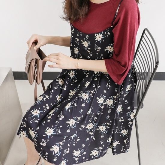 ロロテンマイフラワーops プリントのワンピース/ 韓国ファッション