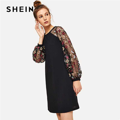 51a08a76f wholesale SHEIN Weekend Casual Modern Lady Black Flower Embroidered Mesh  Contrast Long Sleeve Short