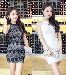 Sexy Fitting Lace Design Ladies Dress in Black/White