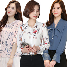 New Long Sleeve Short Sleeve Blouse/Office casual Chiffon Blouse/ Floral/ 2017 Summer