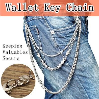 fd9292ce25 Jeans Wallet Key Chain Mens Belt Metal Gothic Rock Pants Trousers Accessory