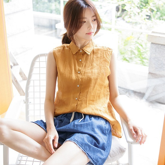 [TooSomeChic官方旗艦店] 亞麻無袖襯衫
