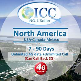 ◆ ICC◆【North America Sim Card·30 Days】U.S.A · Canada · Mexico Card + Unlimited Int'l/Local Call/SMS