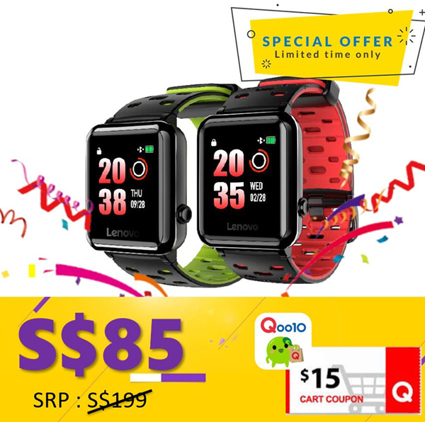 Lenovo/W5 GPS Sport Watch Black Red