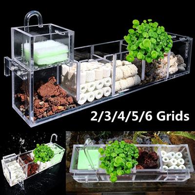 2 3 4 5 6 Grids Acrylic Aquarium Fish Tank External Oxygen Filter Boxes Supplies Diy Tools