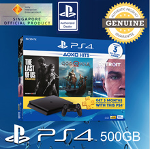PS4 HITS Bundle (Latest Ver) with 3 Games : God of War™ + Detroit: Become Human™ [Physical CD] and The Last of Us™ Remastered [Digital Ver] 12 Months + Extra 90 Days Local Warranty Service