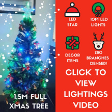 *2017 * 1.5M TALL XMAS TREE *  FREE LED STAR / 10M LED LIGHTS / DECOR ITEMS *  PREMIUM DECOR AVAIL