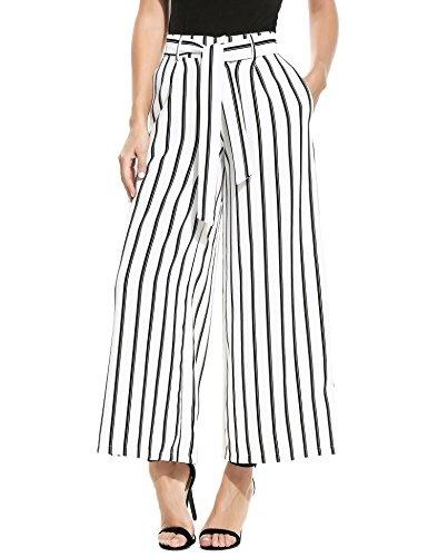 UNibelle Womens Stripe Flowy Wide Leg Belted Palazzo Harem Pants Culottes