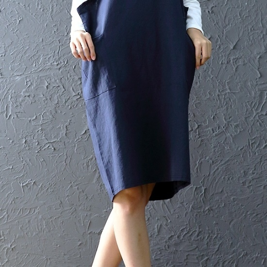 ウィスィモールリンネンベーシックブイワンピースZYW03909 綿ワンピース/ 韓国ファッション
