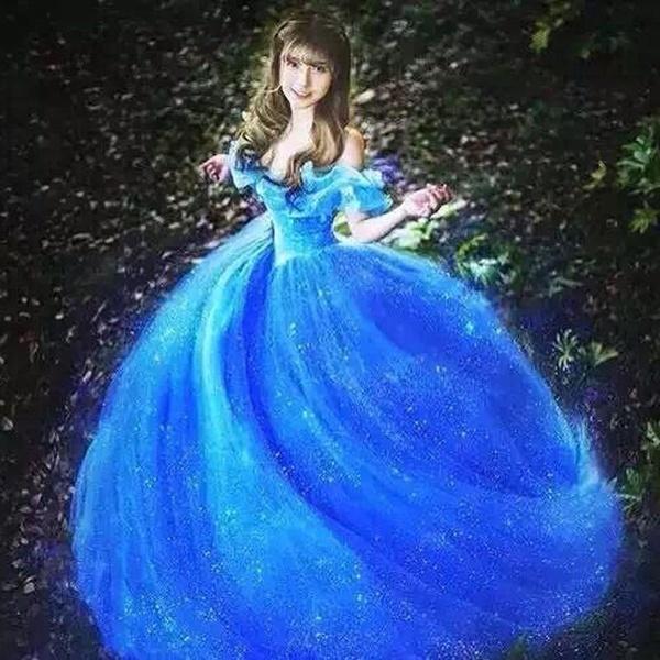 2015年新作映画スカーレットサンディープリンセスワンピースブルーシンデレラコスチューム大人の女の子
